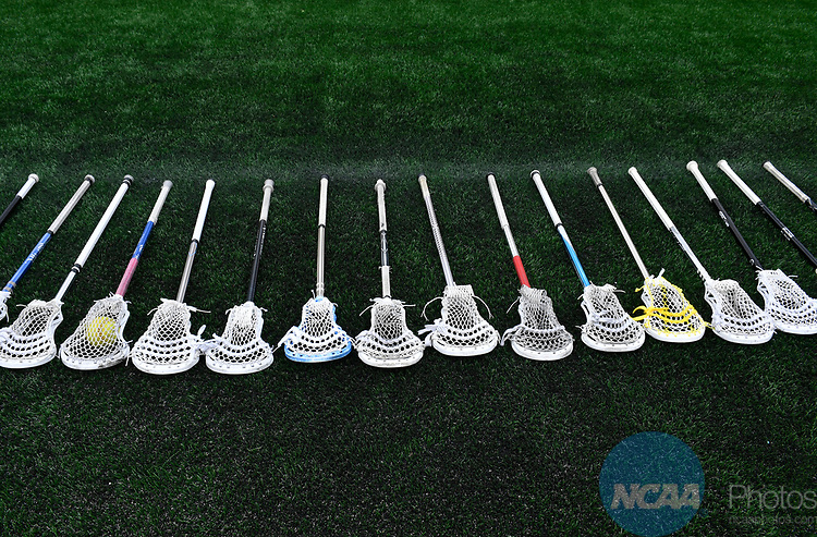 FOXBORO, MA - MAY 28: A detailed view of lacrosse sticks on the sideline during the Division II Men's Lacrosse Championship held at Gillette Stadium on May 28, 2017 in Foxboro, Massachusetts. (Photo by Larry French/NCAA Photos via Getty Images)