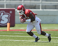 NWA Democrat-Gazette/MICHAEL WOODS &bull; @NWAMICHAELW<br /> University of Arkansas running back Rawleigh Williams III runs drills during practice Saturday, August 15, 2015 at Razorback Stadium in Fayetteville.