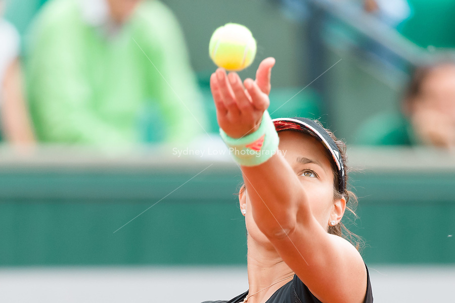 May 24, 2015: Ana Ivanovic (SRB) in action in a 1st round match against Yaroslava Shvedova (KAZ) on day one of the 2015 French Open tennis tournament at Roland Garros in Paris, France. Sydney Low/AsteriskImages