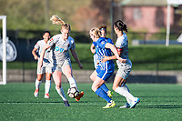 Boston, MA - Sunday May 07, 2017: Samantha Mewis, Natasha Dowie and Abby Erceg during a regular season National Women's Soccer League (NWSL) match between the Boston Breakers and the North Carolina Courage at Jordan Field.
