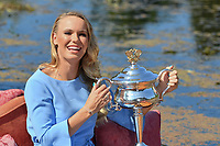 January 28, 2018: The 2018 Australian Open Women's Champion Caroline Wozniacki of Denmark poses for photographs with her trophy at the Botanical Gardens in Melbourne, Australia. Photo Sydney Low