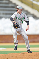 Marshall Thundering Herd starting pitcher Roscoe Blackburn (19) in action against the Wake Forest Demon Deacons at Wake Forest Baseball Park on February 17, 2014 in Winston-Salem, North Carolina.  The Demon Deacons defeated the Thundering Herd 4-3.  (Brian Westerholt/Four Seam Images)