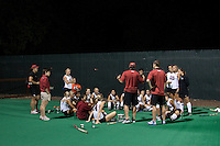 STANFORD CA - September 23, 2011: Team talk during Halftime of the Stanford vs Cal at vs Lehigh field hockey game at the Varsity Field Hockey Turf Friday night at Stanford.<br /> <br /> The Cardinal team defeated the Golden Bears 3-2.