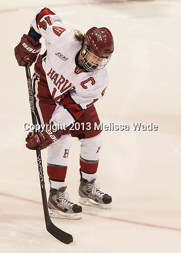 Jillian Dempsey (Harvard - 14) - The Boston College Eagles defeated the Harvard University Crimson 2-1 in the opening game of the 2013 Beanpot on Tuesday, February 5, 2013, at Matthews Arena in Boston, Massachusetts.