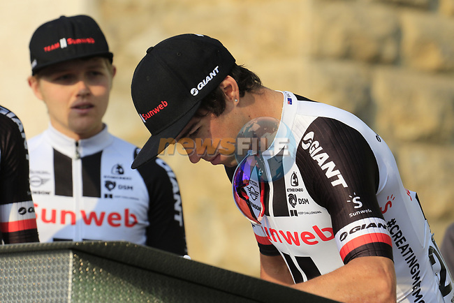 "Michael ""Bling"" Matthews (AUS) Team Sunweb at sign on before the start of the 112th edition of Il Lombardia 2018, the final monument of the season running 241km from Bergamo to Como, Lombardy, Italy. 13th October 2018.<br /> Picture: Eoin Clarke 