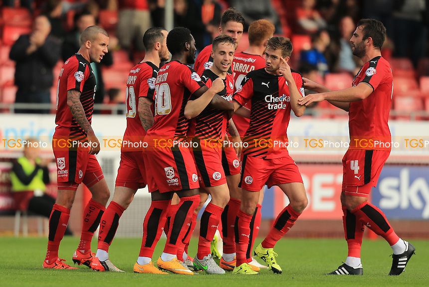 Crawley Town players celebrate Mitch Hancox's goal to give them the lead during Crawley Town vs Leyton Orient, Sky Bet League 2 Football at Broadfield Stadium, Crawley, England on 10/10/2015