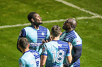 Aaron Pierre of Wycombe Wanderers & Goalscorer Adebayo Akinfenwa of Wycombe Wanderers celebrates the opening goal during the The Checkatrade Trophy match between Wycombe Wanderers and West Ham United U21 at Adams Park, High Wycombe, England on 4 October 2016. Photo by Andy Rowland.