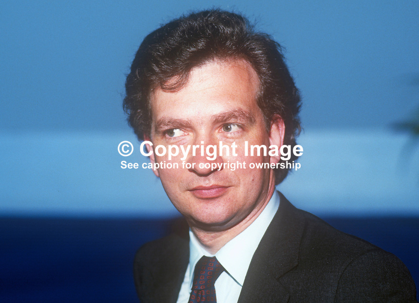 Mark Robinson, MP, Conservative Party, UK, Under  Secretary for Wales, June, 1986, 19860605MR<br /> <br /> Copyright Image from Victor Patterson, 54 Dorchester Park, <br /> Belfast, UK, BT9 6RJ<br /> <br /> t1: +44 28 9066 1296 (from Rep of Ireland 048 9066 1296)<br /> t2: +44 28 9002 2446 (from Rep of Ireland 048 9002 2446)<br /> m: +44 7802 353836<br /> <br /> e1: victorpatterson@me.com<br /> e2: victorpatterson@gmail.com<br /> <br /> www.victorpatterson.com<br /> <br /> Please see my Terms and Conditions of Use at VICTORPATTERSON.COM. It is IMPORTANT that you familiarise yourself with them.<br /> <br /> Images used on the Internet must be visibly watermarked i.e. &copy;VICTORPATTERSON.COM within the body of the image and copyright metadata must not be deleted. Images used on the Internet have a size restriction of 4kbs and are chargeable at the then current NUJ rates.<br /> <br /> This image is only available for the use of the download recipient i.e. television station, newspaper, magazine, book publisher, etc, and must not be passed on to any third party. It is also downloaded on condition that each and every usage is notified within 7 days to victorpatterson@me.com<br /> <br /> The right of Victor Patterson to be identified as the author is asserted in accordance with The Copyright Designs And Patents Act (1988).