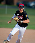 WATERTOWN,  CT-071018JS08-- Oakville's (7) runs to first for the out after fielding a ground ball during their Zone 5 American Legion game against Naugatuck Tuesday at the Taft School in Watertown. <br />  Jim Shannon Republican American