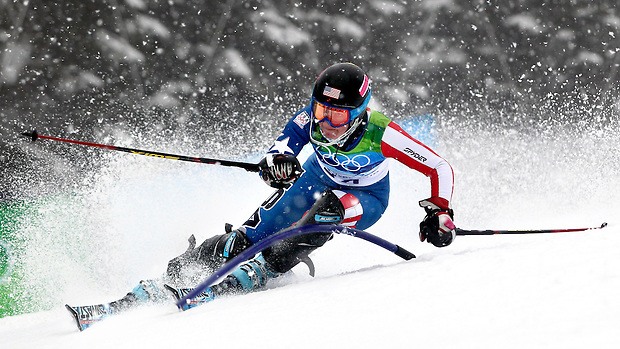 USA's Megan McJames passes a gate in the women's slalom at the XXI Olympic Winter Games Friday, February 26, 2010 in Whistler, British Columbia.
