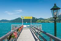 Austria, Upper Austria, Salzkammergut, Unterach am Attersee: shipping pier Stockwinkel | Oesterreich, Oberoesterreich, Salzkammergut, Unterach am Attersee: Schiffsanleger Stockwinkel