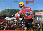Race leader Primoz Roglic (SLO) Team Jumbo-Visma signs on before Stage 14 of La Vuelta 2019  running 188km from San Vicente de la Barquera to Oviedo, Spain. 7th September 2019.<br /> Picture: Karlis | Cyclefile<br /> <br /> All photos usage must carry mandatory copyright credit (© Cyclefile | Karlis)