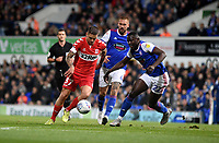 Middlesbrough's Mo Besic (left) scores the opening goal despite the attentions of Ipswich Town's Toto Nsiala (right)  <br /> <br /> Photographer Hannah Fountain/CameraSport<br /> <br /> The EFL Sky Bet Championship - Ipswich Town v Middlesbrough - Tuesday 2nd October 2018 - Portman Road - Ipswich<br /> <br /> World Copyright &copy; 2018 CameraSport. All rights reserved. 43 Linden Ave. Countesthorpe. Leicester. England. LE8 5PG - Tel: +44 (0) 116 277 4147 - admin@camerasport.com - www.camerasport.com