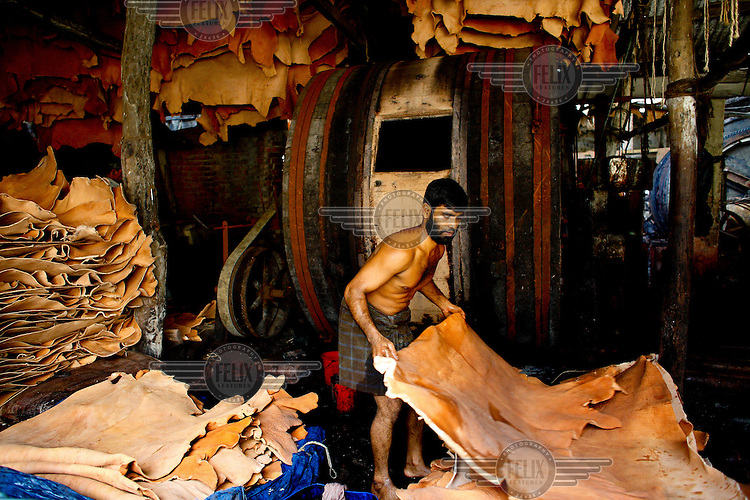 A man moves an animal skin during leather processing in a tannery. It is thought that 90% of tannery workers in Bangladesh suffer from some kind of disease because of chemical exposure while thousands of litres of contaminated water are dumped into the country's rivers.