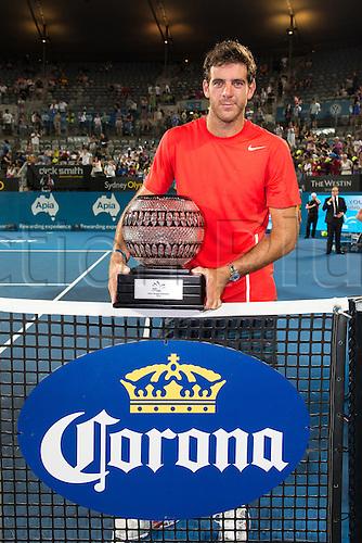 11.01.2014. Sydney Australia. Juan Martin Del Potro with his winners trophy at the Mens Final, Apia International, Sydney Olympic Park Tennis Centre, Sydney, Australia, Saturday, 11 Jan 2014.