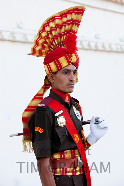 Ceremonial guard of 76th Maharana of Mewar, Shriji Arvind Singh Mewar of Udaipur, at the City Palace, Udaipur, Rajasthan, India