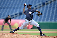 New York Yankees pitcher Manolo Reyes (19) during an Instructional League game against the Philadelphia Phillies on September 23, 2014 at the Bright House Field in Clearwater, Florida.  (Mike Janes/Four Seam Images)