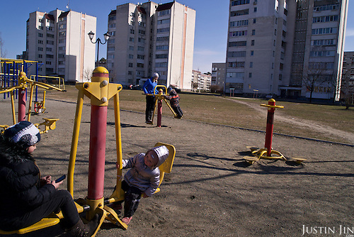 Children play in the town of Slavutych, which has some of the highest birth rates in Ukraine. <br /> <br /> Slavutych rises out of the ashes of the Chernobyl nuclear disaster in April 26, 1986. People living near the disaster area were largely moved to the new city, built from scratch for the sole purpose of housing the population displaced by the nuclear accident.
