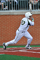 Left fielder Zach Jarrett (10) of the Charlotte 49ers bats in a game against the Fairfield Stags on Saturday, March 12, 2016, at Hayes Stadium in Charlotte, North Carolina. (Tom Priddy/Four Seam Images)
