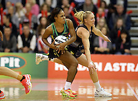 14.09.2016 Silver Ferns Laura Langman and Jamacia's Adean Thomas in action during the Taini Jamison netball match between the Silver Ferns and Jamaica played at Arena Manawatu in Palmerston North. Mandatory Photo Credit ©Michael Bradley.