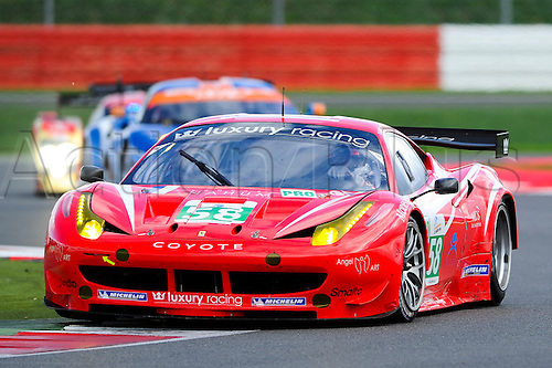 11.09.2011 SILVERSTONE, ENGLAND. Le Mans Series & Intercontinental Le Mans Cup from Silverstone. the LM GTE Pro #58 LUXURY RACING (FRA) Ferrari F458 Italia of François Jakubowski (FRA), Anthony Beltoise (FRA) and Nicolas Marroc (FRA) during the Autosport 6 Hours of Silverstone on Sunday.
