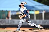 Columbia Fireflies starting pitcher Christian James (30) delivers a pitch during a game against the Asheville Tourists at McCormick Field on June 22, 2019 in Asheville, North Carolina. The Tourists defeated the Fireflies 6-5. (Tony Farlow/Four Seam Images)