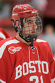 Sean Escobedo (BU - 21) - The Boston University Terriers defeated the Harvard University Crimson 6-5 in overtime on Tuesday, November 24, 2009, at Bright Hockey Center in Cambridge, Massachusetts.