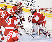 Mary Restuccia (BC - 22), Kelli Stack (BC - 16), Kerrin Sperry (BU - 1) - The Boston College Eagles defeated the Boston University Terriers 2-1 in the opening round of the Beanpot on Tuesday, February 8, 2011, at Conte Forum in Chestnut Hill, Massachusetts.
