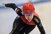 1st February 2019, Dresden, Saxony, Germany; World Short Track Speed Skating; 500 meters women in the EnergieVerbund Arena. Song Yang from China on the track.