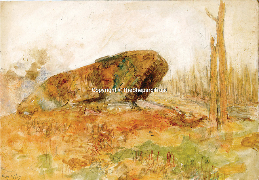 BNPS.co.uk (01202 558833)Pic: TheShepardTrust/BNPS<br /> <br /> ***Images only to be used in relation to the book***<br /> <br /> Watercolour painting of a tank at Arras dated May 27 1917.Poignant never-seen-before sketches that Winnie the Pooh illustrator E.H. Shepard drew from the First World War trenches have been published for the first time after they were discovered in a time-capsule box.The incredible archive of more than 100 sketches only came to light when a trunk belonging to Shepard that had not been opened for almost 100 years was stumbled upon by researchers.Shepard, who also illustrated Kenneth Grahame's Wind in the Willows, was a soldier in WW1's bloodiest battles and constantly made drawings of his experiences and encounters on the battlefield.The astonishing collection has now been published for the first time in a new book called Shepard's War, published by Michael O'Mara Books, that commemorates the artist's time on the front line.