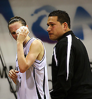 Tall ferns captain Toni Edmondson with assistant coach Kennedy Hamilton after the loss during the International women's basketball match between NZ Tall Ferns and Australian Opals at Te Rauparaha Stadium, Porirua, Wellington, New Zealand on Monday 31 August 2009. Photo: Dave Lintott / lintottphoto.co.nz