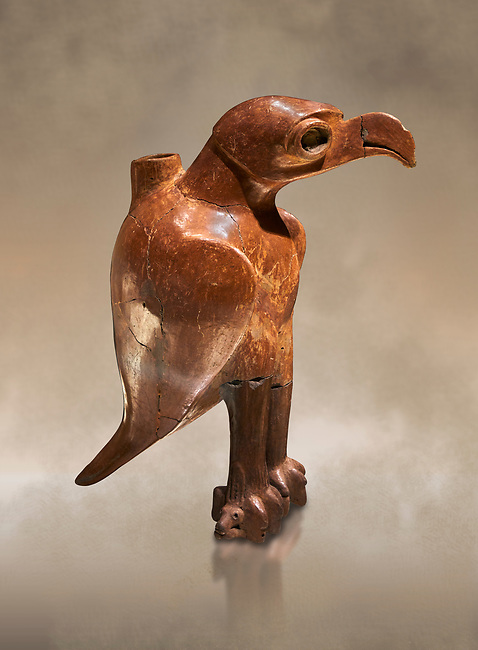 Bronze Age Anatolian eagle shaped ritual vessel - 19th to 17th century BC - Kültepe Kanesh - Museum of Anatolian Civilisations, Ankara, Turkey.  Against a warn art background.
