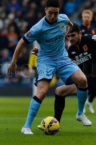 07.02.2015.  Manchester, England. Barclays Premier League. Manchester City versus Hull City. Manchester City midfielder Samir Nasri on the ball.