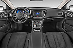 Stock photo of straight dashboard view of a 2015 Chrysler 200 Limited 4 Door Sedan 2WD Dashboard