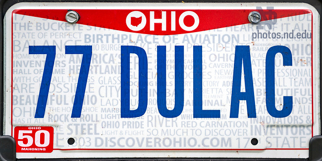 "May 2, 2017; Ohio license plate ""77 DULAC"" (Photo by Matt Cashore/University of Notre Dame)"