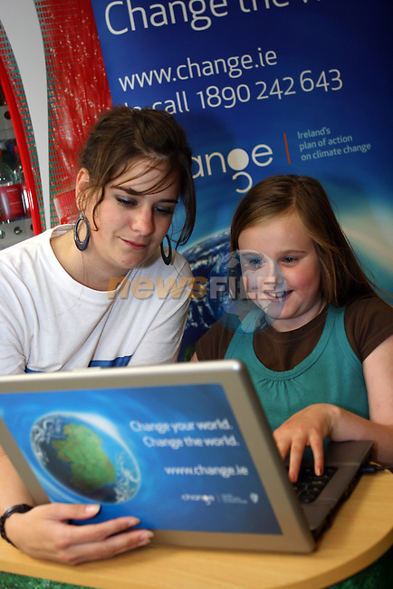 Odessa Stafford and Amy Fergus at the Climate Change Campaign in Tesco, Dundalk...Photo NEWSFILE/Jenny Matthews.(Photo credit should read Jenny Matthews/NEWSFILE)....This Picture has been sent you under the condtions enclosed by:.Newsfile Ltd..The Studio,.Millmount Abbey,.Drogheda,.Co Meath..Ireland..Tel: +353(0)41-9871240.Fax: +353(0)41-9871260.GSM: +353(0)86-2500958.email: pictures@newsfile.ie.www.newsfile.ie.FTP: 193.120.102.198.
