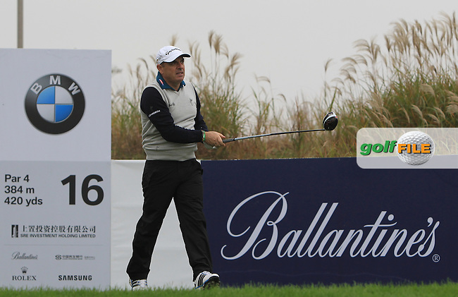 Paul McGinley (IRL) on the 16th tee during Round 2 of the BMW Masters at Lake Malaren Golf Club in Boshan, Shanghai, China on Friday 13/11/15.<br /> Picture: Thos Caffrey | Golffile<br /> <br /> All photo usage must carry mandatory copyright credit (&copy; Golffile | Thos Caffrey)