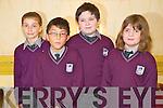 Mary Oilibhéar, Caolan Ó Riain, Christian Mac Eochaidh agus Éabha Ní Chathasaigh, Gaelscoil Faithleann, Cill Airne at the Killarney Credit Union National Schools quiz in the Gleneagle hotel, Killarney on Sunday.