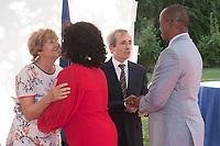 French Ambassador in Spain Yves Saint-Geours and his wife Jocilene receive guests