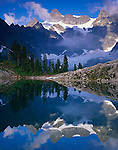 North Cascades National Park, WA<br /> Late afternoon sun on Mount Shuksan with a mirror reflection in Lake Ann