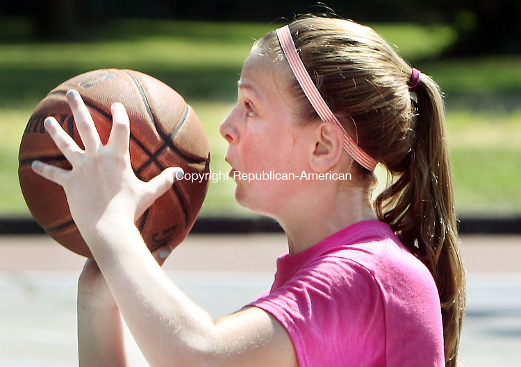 WATERBURY CT. 13 August 2016-081316SV10-Carina Ciampi, 12, of Waterbury shoots against a Stratford team during the inaugural Hoops4Life/CT Sound community all-star basketball games at Bucks Hill Park in Waterbury Saturday. <br /> Steven Valenti Republican-American