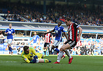 David Stockdale of Birmingham City saves at the feet of Billy Sharp of Sheffield Utd during the championship match at St Andrews Stadium, Birmingham. Picture date 21st April 2018. Picture credit should read: Simon Bellis/Sportimage