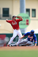 St. Louis Cardinals Ty Kelly (68) throws to first as Kirk Nieuwenhuis (9) slides in during a Spring Training game against the New York Mets on April 2, 2015 at Roger Dean Stadium in Jupiter, Florida.  The game ended in a 0-0 tie.  (Mike Janes/Four Seam Images)