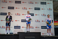 26th January 2020; National Cycling Centre, Manchester, Lancashire, England; HSBC British Cycling Track Championships; Women's 500m TT medallists, from L to R Emma Finucane silver, Lauren Bell gold, Ellie Stone bronze