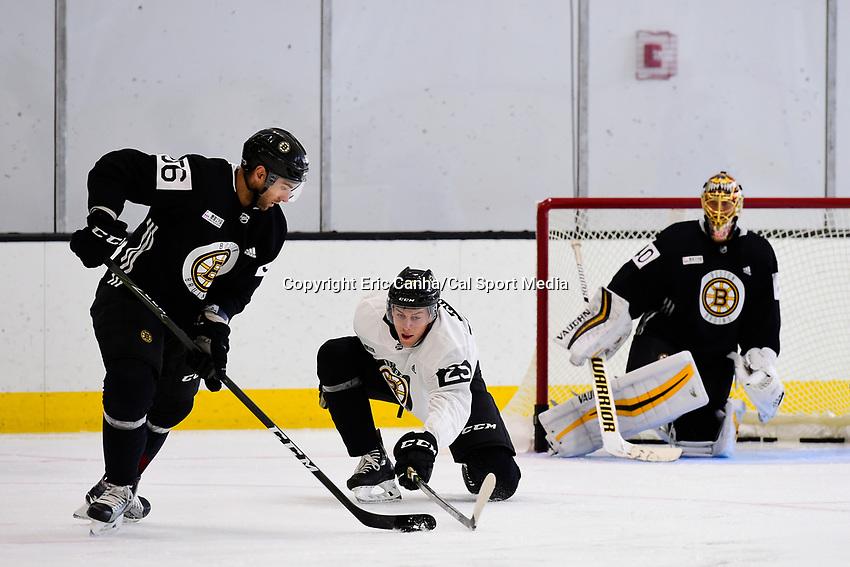 September 15, 2017: Boston Bruins right defenseman Brandon Carlo (25) blocks left defenseman Tommy Cross (56) during the Boston Bruins training camp held at Warrior Ice Arena in Brighton, Massachusetts. Eric Canha/CSM