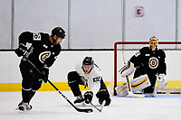September 15, 2017: Boston Bruins right defenseman Brandon Carlo (25) blocks left defenseman Tommy Cross (56) during the Boston Bruins training camp held at Warrior Ice Arena in Brighton, Massachusetts. Eric Canha/CSM