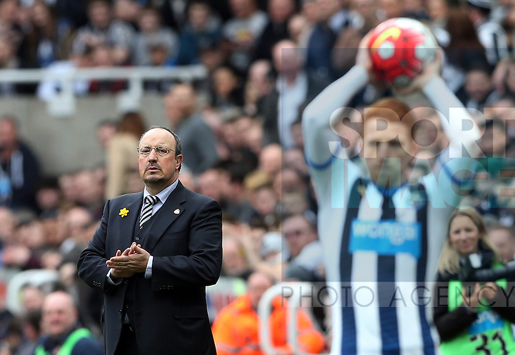 Newcastle United's manager Rafael Benitez during the Barclays Premier League match at St James' Park Stadium. Photo credit should read: Scott Heppell/Sportimage