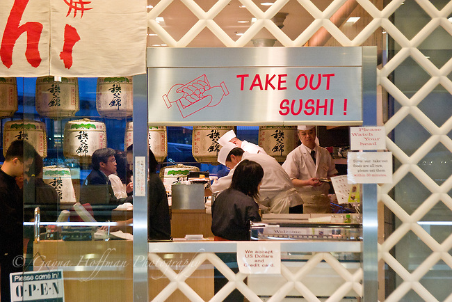 Take Out Sushi window at Norita, Japan airport.