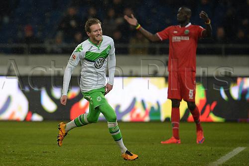 01.03.2016. Hannover, Germany. Bundesliga Football Hannover 96 versus VfL Wolfsburg.   Hat trick for 0:3 as Andre Schurrle (VFL Wolfsburg 17)celebrates