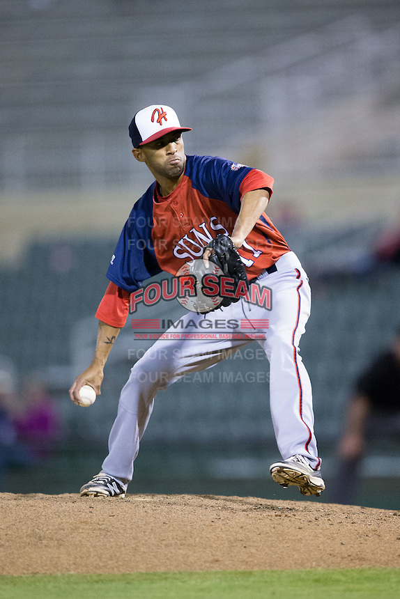 Hagerstown Suns relief pitcher Mariano Rivera (17) in action against the Kannapolis Intimidators at Kannapolis Intimidators Stadium on May 6, 2016 in Kannapolis, North Carolina.  The Intimidators defeated the Suns 5-3.  (Brian Westerholt/Four Seam Images)
